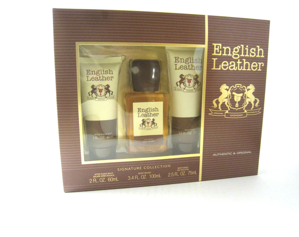 English Leather by Dana Body Splash 3.4 / AS Balm / Shower Gel Set - Cosmic-Perfume