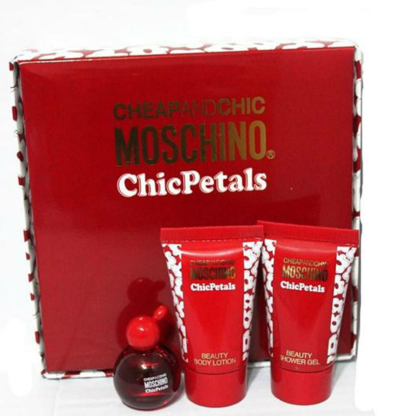 Cheap and Chic Petals for Women by Moschino EDT Splash 0.17 oz + Lotion + Gel Mini Set - Cosmic-Perfume