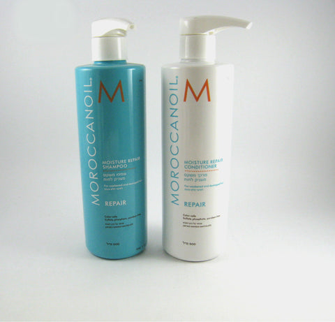 MOROCCANOIL Moisture REPAIR Shampoo & Conditioner DUO for Weak or Damaged Hair / 500 ml ea. - Discount Bath & Body at Cosmic-Perfume - 1