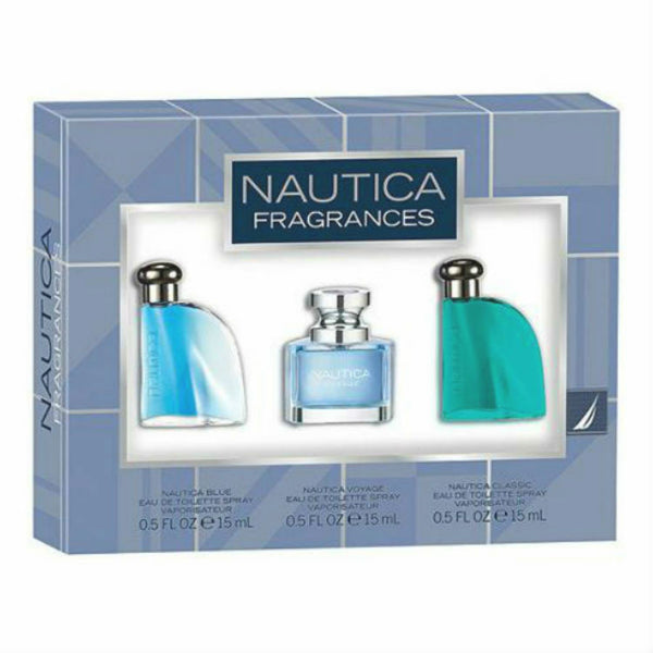 NAUTICA for MEN  Classic , Blue , Voyage EDT Travel Spray 0.5 oz ~ 3 pc Gift Set - Discount Fragrance at Cosmic-Perfume
