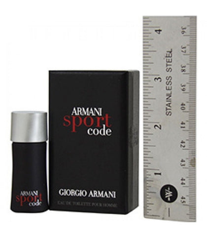 Armani Code Sport for Men by Giorgio Armani EDT Miniature Splash 0.14 oz (New in Box) - Discount Fragrance at Cosmic-Perfume