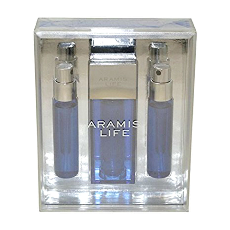 Aramis Life for Men EDT Travel Spray 0.5 oz  + 2  Refills Set *Worn Box