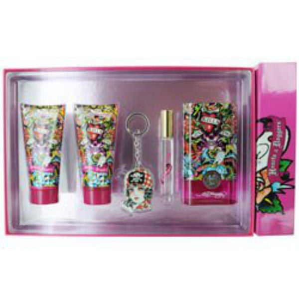Hearts & Daggers for Women by Ed Hardy EDP Spray 3.4 oz -  5 pc Gift Set - Discount Fragrance at Cosmic-Perfume