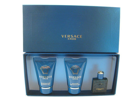 EROS for Men by VERSACE EDT Miniature 0.17 oz + Balm 0.8 oz + Gel 0.8 oz Gift Set - Discount Fragrance at Cosmic-Perfume