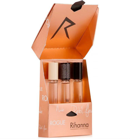 Rihanna for Women (Reb'l Fleur, Nude, Rouge) Rollerball 0.2 oz Set - Cosmic-Perfume