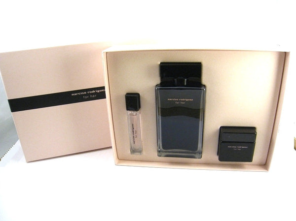 Narciso Rodriguez Her for Women EDT Spray 3.3 oz + EDT 0.33 oz + Cream  - Gift Set - Discount Fragrance at Cosmic-Perfume