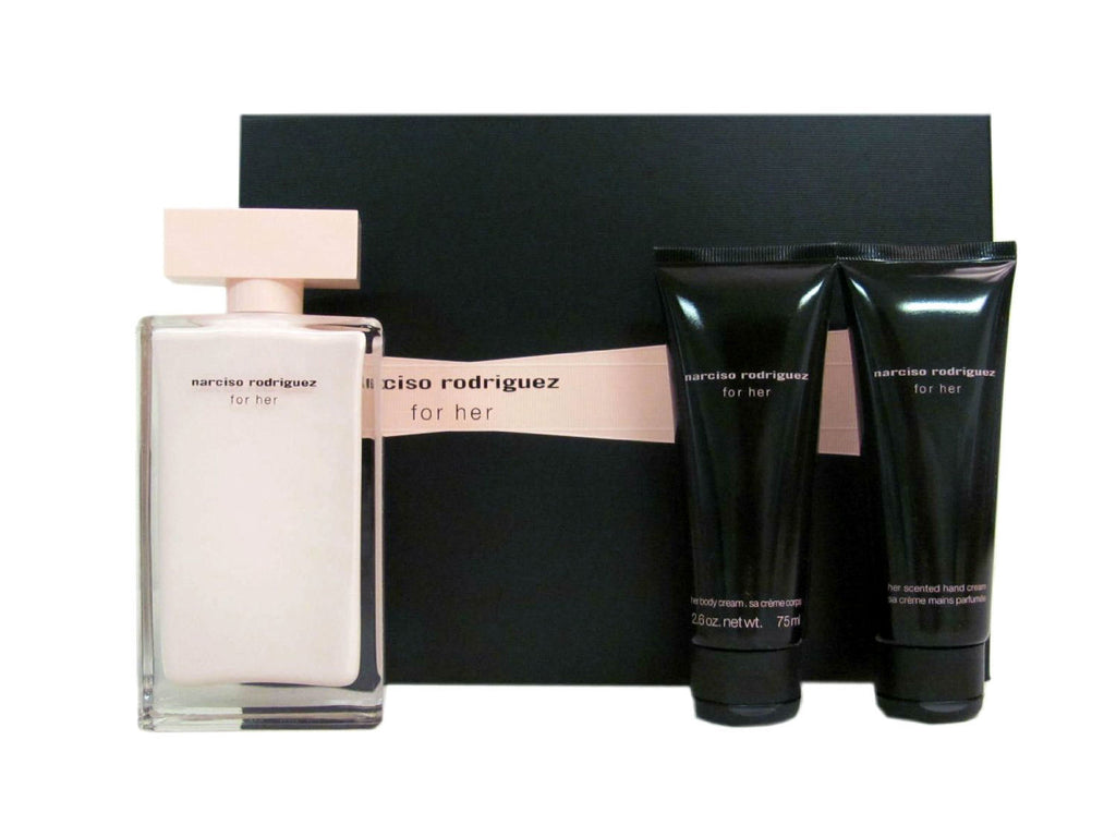 narciso rodriguez for her set edp spray 3 3 oz body cream hand cream cosmic perfume. Black Bedroom Furniture Sets. Home Design Ideas