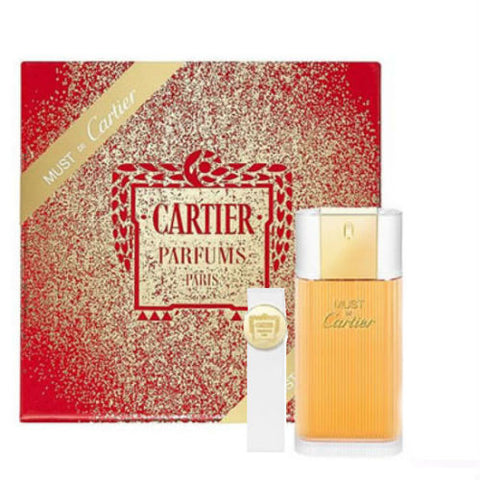 Must de Cartier for Women EDT Spray 3.3 oz + EDT Purse Spray 0.3 oz Gift Set - Cosmic-Perfume