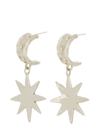 Big Star Earrings in White Bronze