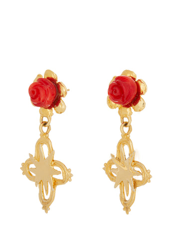 Rose Cross Earrings in Gold
