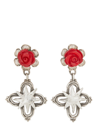 Rose Cross Earrings in Sterling Silver