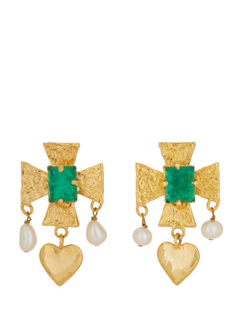 Cardinal Earrings - Green