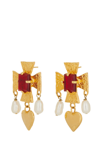 Cardinal Earrings - Red