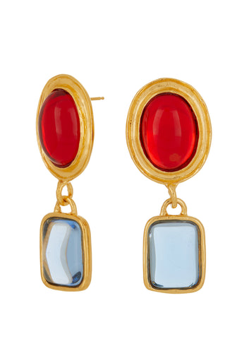 Jelly Earrings - Ruby & Ice Blue