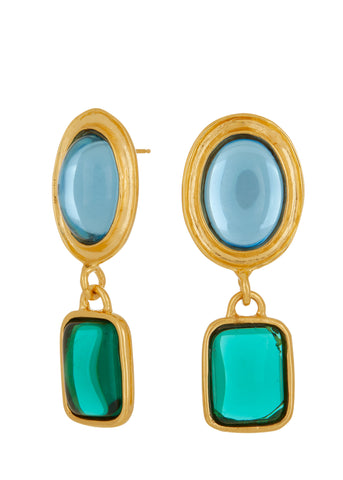 Jelly Earrings - Blue & Emerald