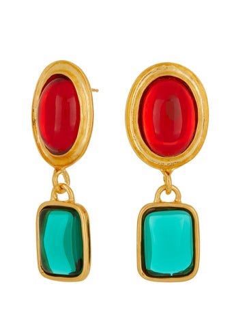 Jelly Earrings - Ruby & Emerald