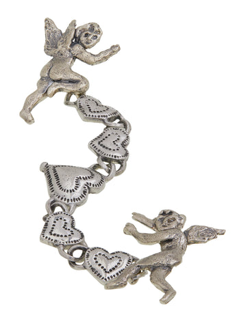 Eros and Psyche Chain Brooch in White Bronze