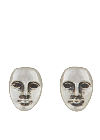Mini Face Studs in Sterling Silver