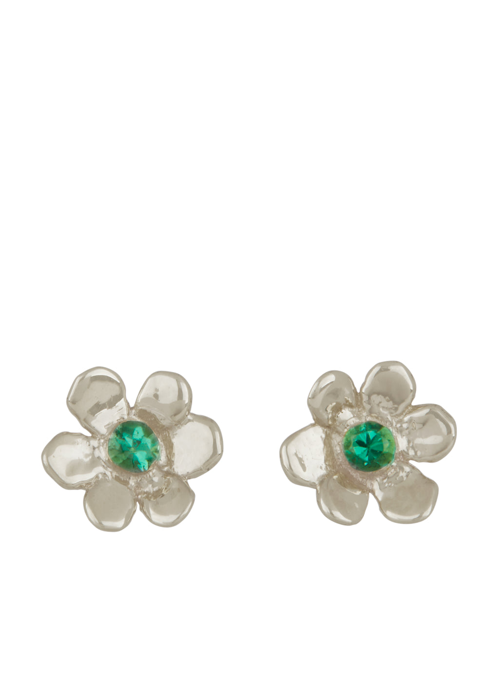 Mini Daisy Studs Sterling Silver - Emerald