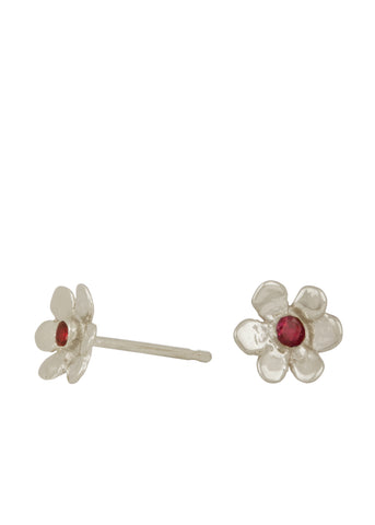 Mini Daisy Studs Sterling Silver - Ruby
