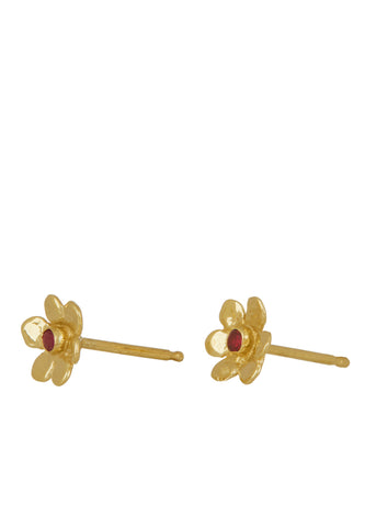 Mini Daisy Studs 14k - Ruby