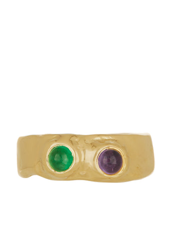 Felt Ring Divine with Emerald & Amethyst in 14k