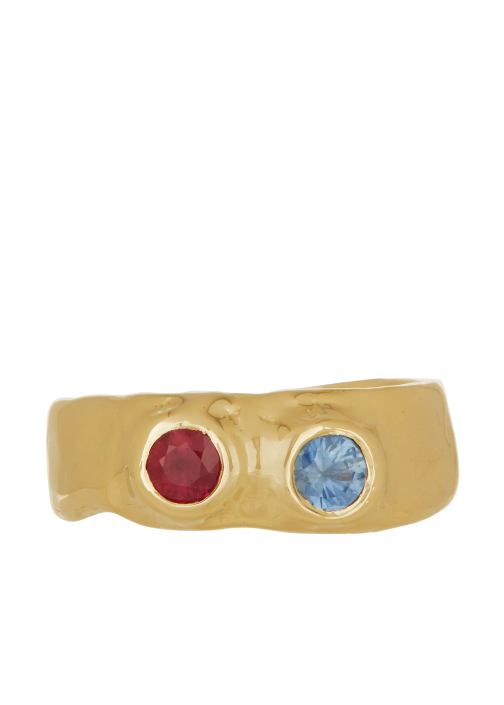 Felt Ring Divine Faceted with Ruby & Sapphire in 14k