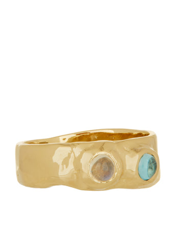 Felt Ring Divine with Moonstone & Apatite in 14k