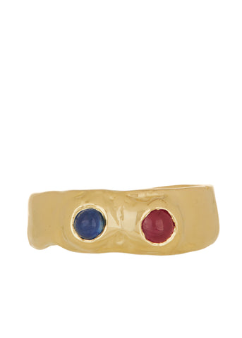 Felt Ring Divine with Ruby & Sapphire in 14k