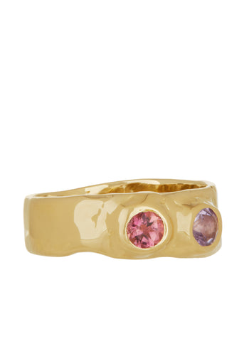 Felt Ring Divine Faceted with Amethyst & Pink Sapphire in 14k