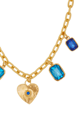 Heart Charm Necklace - Blue