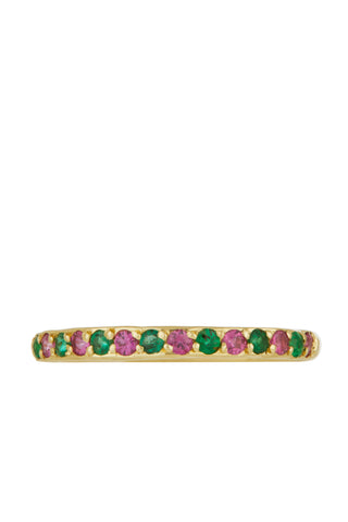 Amador 2mm Pave - Emerald & Pink Sapphire