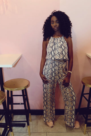 mission lane pink and gray snake print jumpsuit