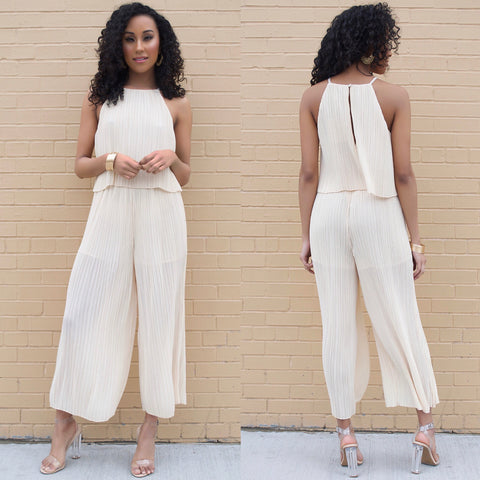 misson lane mink pink nude pleated jumpsuit