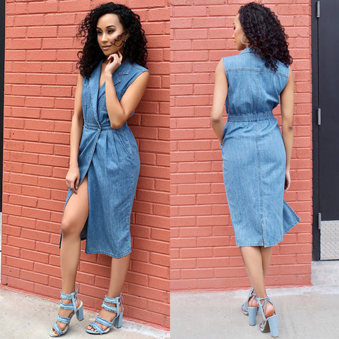 mission lane mink pink denim wrap dress