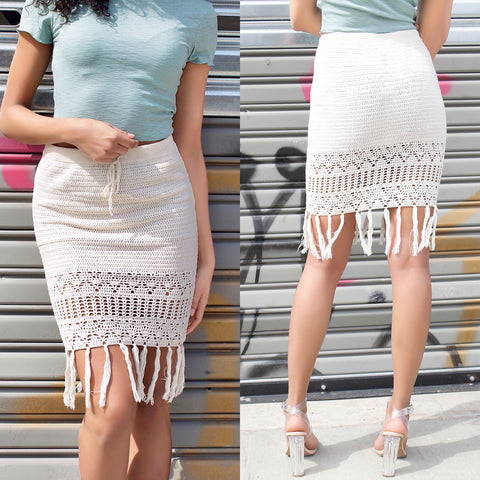 Mission Lane mink pink fringe white skirt