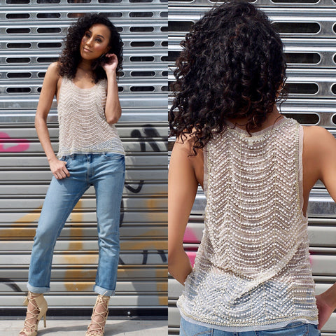 mission lane sequin and pearls shimmer tank top
