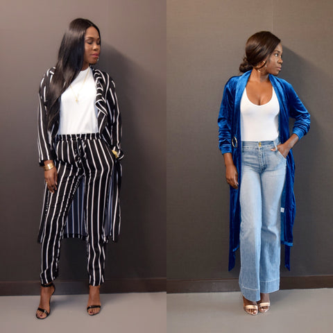 mission lane trench coat looks. Blue velvet coat . black and white stripe duster coat