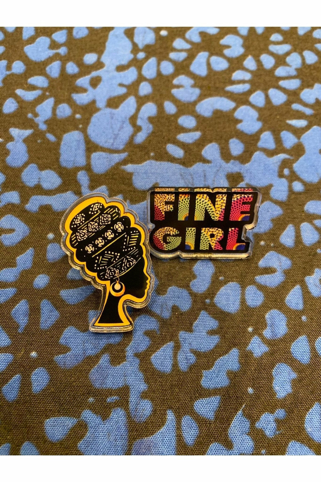 FINE GIRL Pin - Mission Lane Ankara print Pins