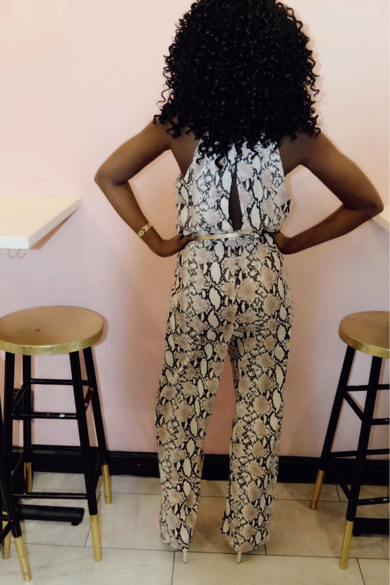 Pretty In Pink Snakeskin Jumpsuit - Mission LaneRompers / Jumpsuits