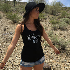 NAMAST'AY IN BED. RACERBACK TANK. YOGA CUT TANK. WORKOUT TANK. BLACK