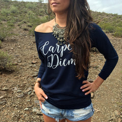 CARPE DIEM OFF THE SHOULDER 3/4 SLEEVE RAGLAN. YOGA SWEATER. YOGA CLOTHING.
