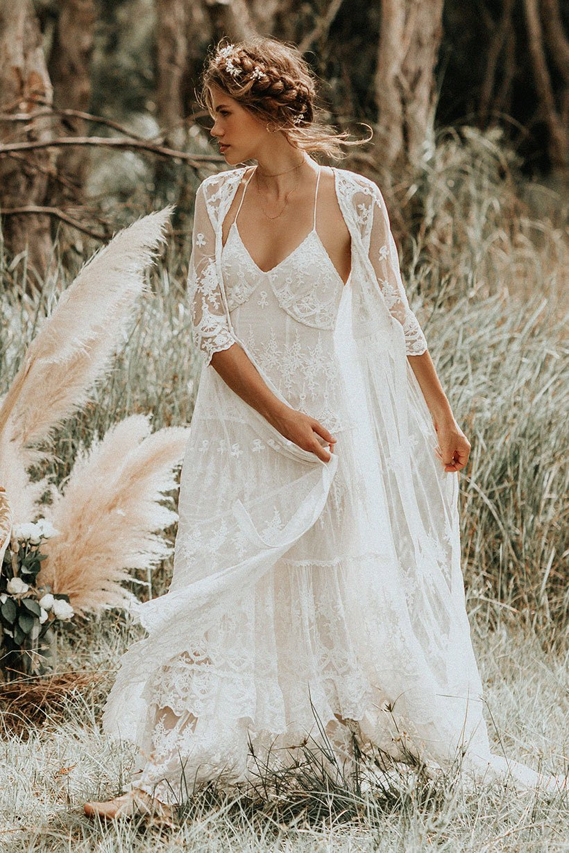 Isabell Andreeva wears Spell Bride Canyon Moon Mesh Duster