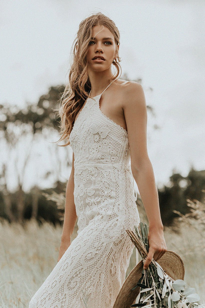 Casablanca Off-White Lace Halter Wedding Gown • Spell & The Gypsy ...