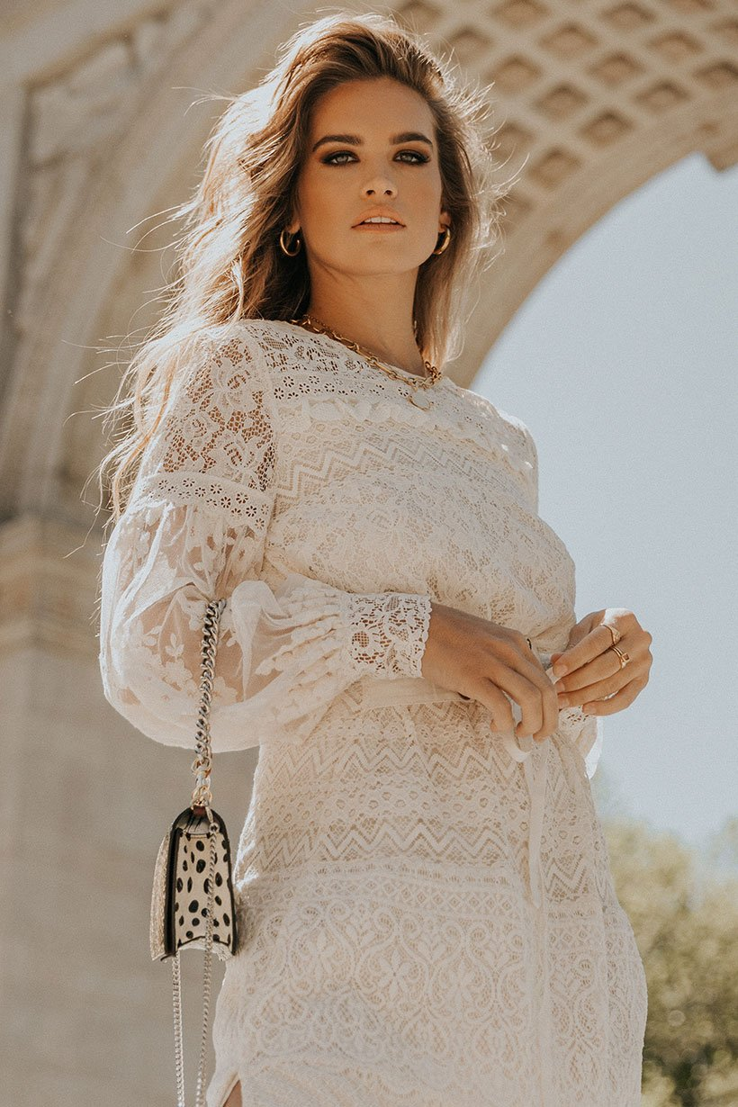 Stormi Bree Wears Spell Dawn Lace Belted Midi Dress