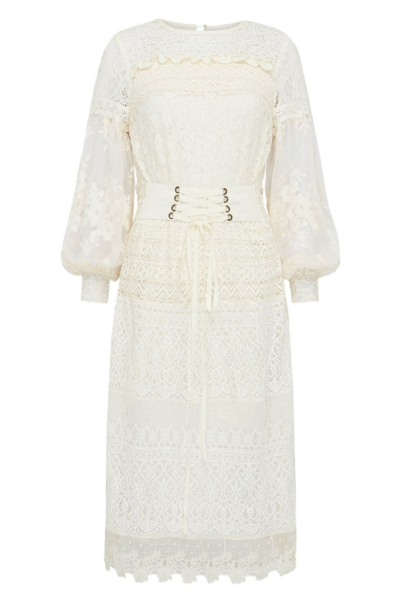 Spell Dawn Lace Belted Midi Dress #rollover