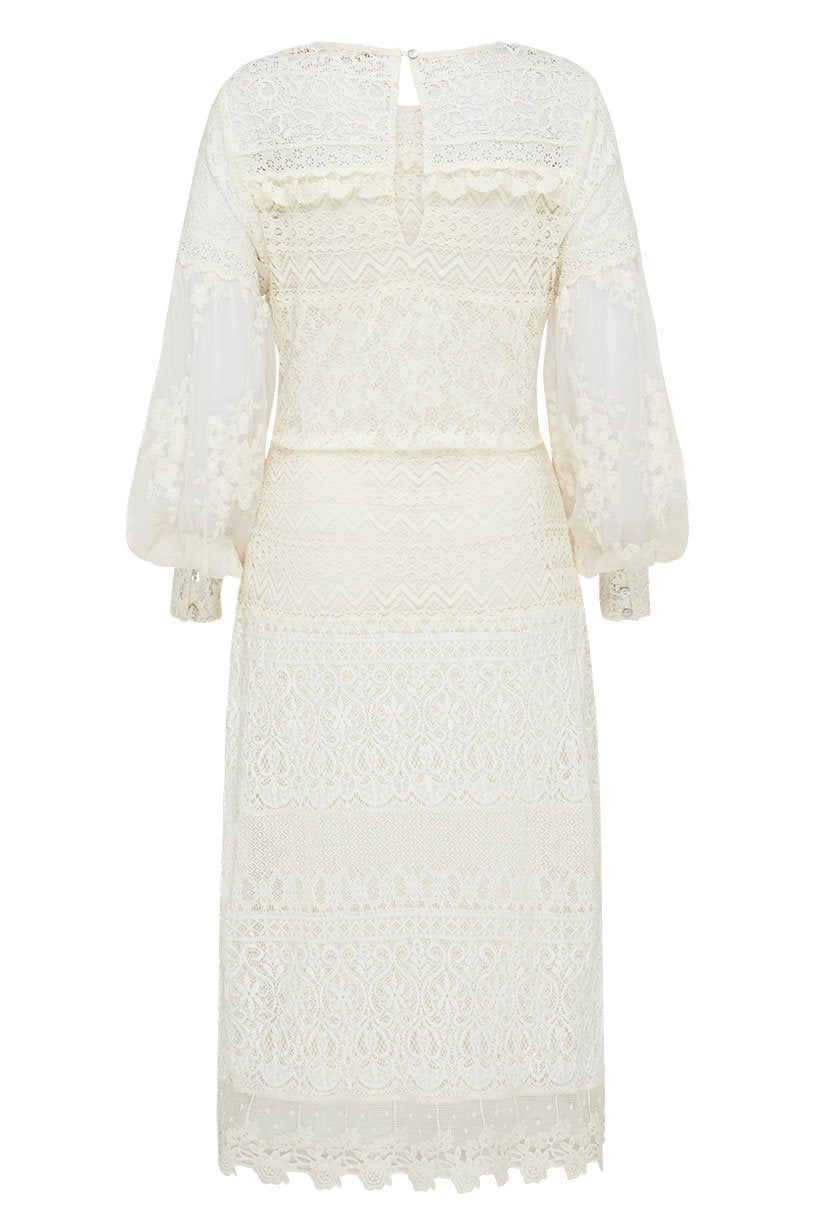 Spell Dawn Lace Belted Midi Dress
