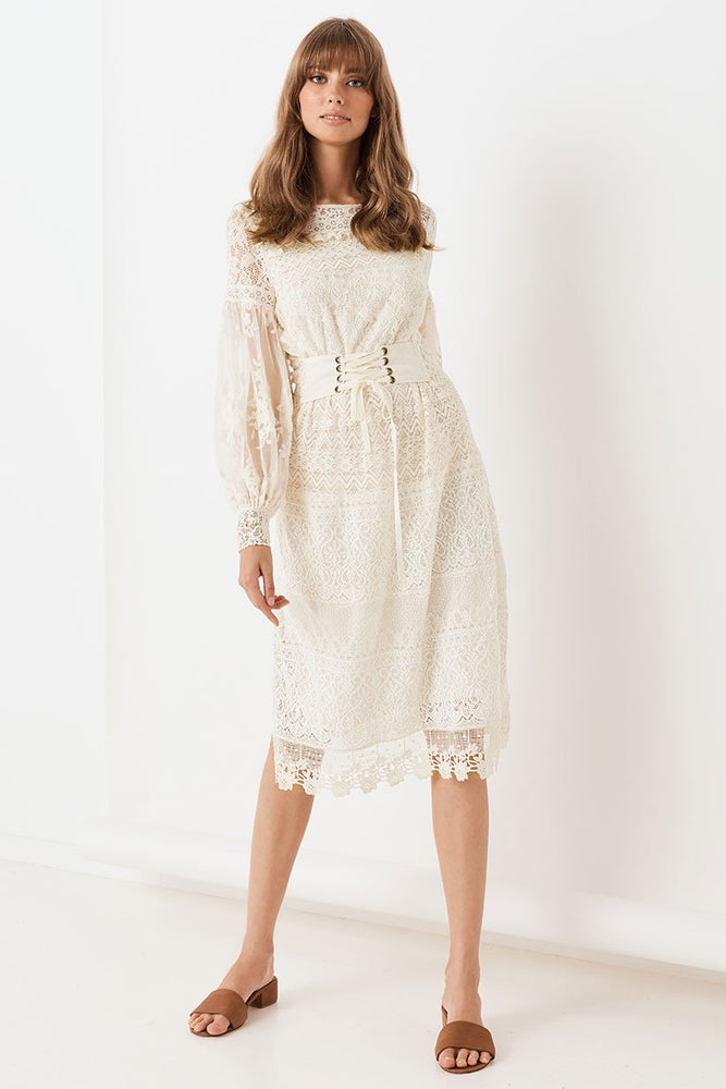 Dawn Lace Belted Midi Dress