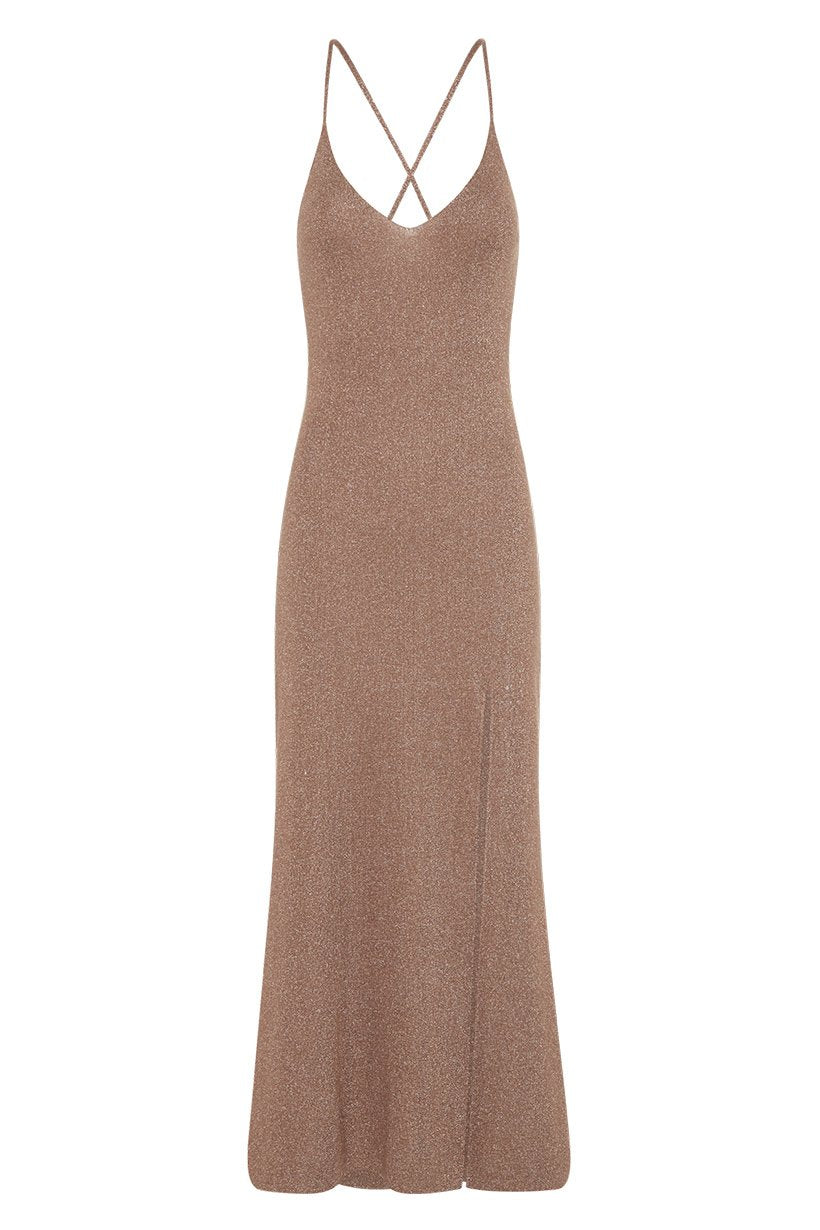 Spell Petra Metallic Knit Slip Dress #rollover