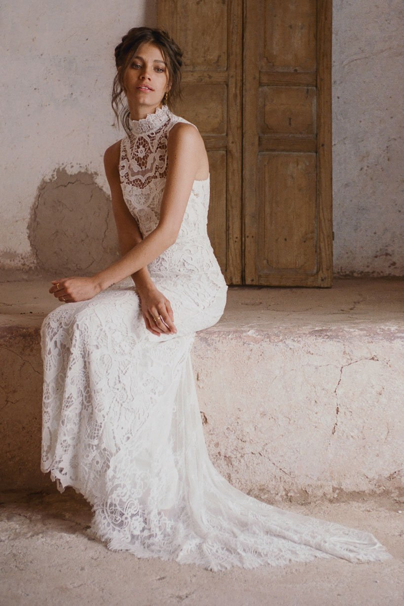Edie Off-White Lace Boho Wedding Gown • Spell & The Gypsy Collective